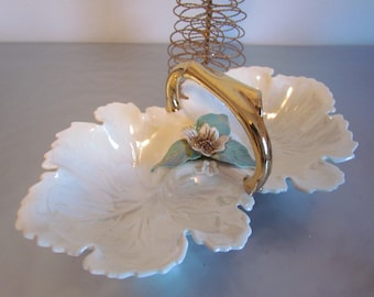 Vintage Divided Iridescent White And Gold Ceramic  Dish Christmas Decor Nut Candy Dish