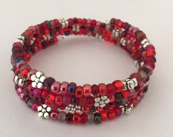 Glass and Silver memory Wire Bead Bracelet