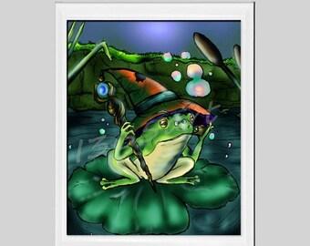 50% OFF SALE Magic Frog Printable, Frog Print, Frog on Water Lily, Nursery Printable, Fantasy Art, Illustration, Printable Wall Art, Digital