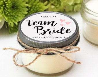 Set of 12 - 4 oz Soy Candles - Team Bride Candles | Team Bride Shower Favors | Team Bride Favors | Bride Tribe | Choose Your Color