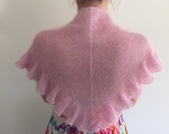 "Hand made Triangle knitted shawl mohair ""ROSE PINK""  Soft knit shawl All Seasons Accessories Shawl Evening Wrap Gift for her Wedding shawl"