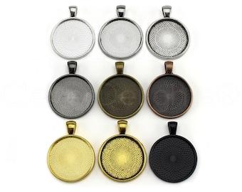"20 - 1 Inch Round Pendant Trays - Mix and Match - Silver Gold Bronze Copper Gunmetal Black - Pendant Blanks Bezel Setting 25 mm 1"""