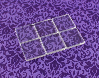 """40 Square Glass Tiles - 1"""" - Clear Tiles -  Glass Cabochons - For Photo Pendants Mosaics Trays  - 1 inch 25mm Tiles - 4mm Thick"""