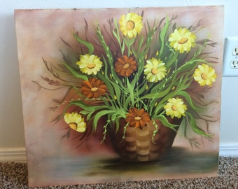 Vintage Oil Painting (1977) - orange and yellow daisies in pot - 22.5 x 20.0 inch - excellent condition