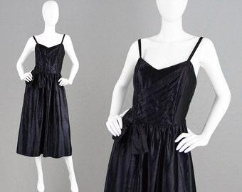 Vintage 80s Evening Dress Spaghetti Straps Smocking Dress Strappy Dress Prom Dress Classic Dress Black Party Dress  Moire Dress Shiny Dress