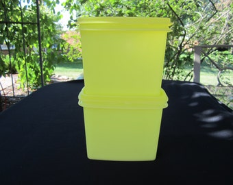 2 Vintage Tupperware Yellow Shelf Saver Storage Containers #1243 with lids