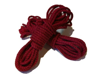 Red Single Hank of Jute Rope for Shibari
