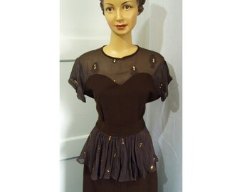 1940s style brown peplum sequin dress