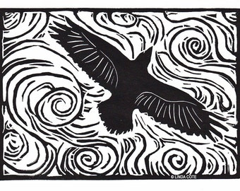 Thermals Linocut Relief Print, Hand Pulled Fine Art, Limited Edition, Printmaking Original