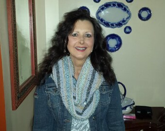 shades of blue infinity eternity cowl crochet scarf