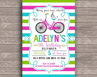 Stripe Bike Birthday Party Invite