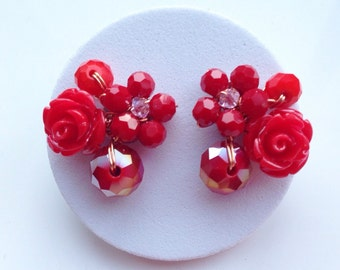 Red Rose earrings - Floral jewelelry - Red stud earrings - stud earrings - red floral earrings - crystal jewellery - gifts for her