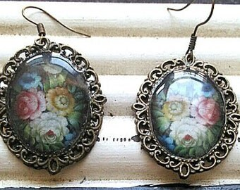 Antique style floral earrings