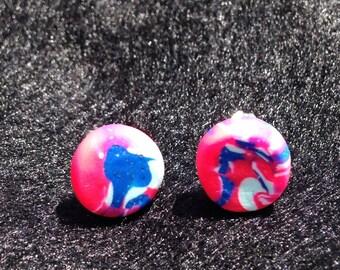 Pink and blue swirl earrings