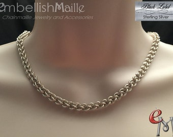 925 Sterling Silver Necklace, 925 SS Chainmaille Necklace, Sterling Silver Jens Pind Link (JPL), Sterling Chain Jewelry!