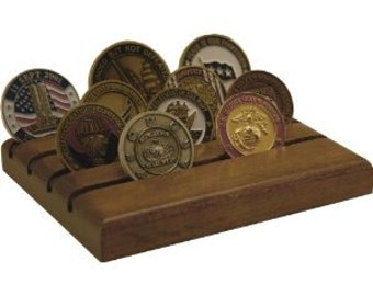 Military Challenge Coin Holder- Mahogany Dark- 12 coins