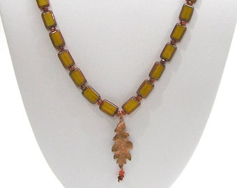 Handmade Czech Glass and Carnelian Bead Necklace with Copper Leaf Pendant
