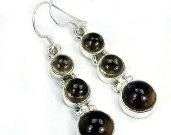 Smoky Quartz & Sterling Silver Dangle Earrings R322