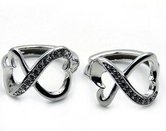 Infinite Love Cubic Zirconia & .925 Sterling Silver Earrings Jewelry, X392