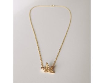 """necklace """"Crane"""" origami for woman plated gold."""