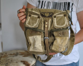 Vintage DIESEL SPARE PARTS canvas with advance patina messenger bag ....(421)