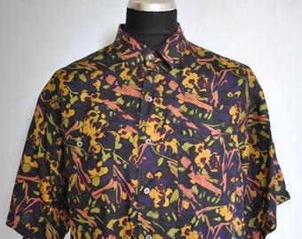 Vintage PRINTED SILK SHIRT , men's silk shirt , yachting relax shirt....