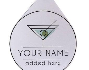 Martini- Add Your Name - Custom Glass Rimmer Lid / Glass Rimmer