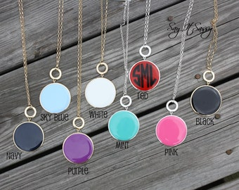Monogram Enamel Necklace - Personalized Necklace - Round Enamel Disk Necklace