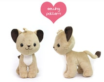 PDF Lion Cub plush sewing pattern - chibi cat feline Pokemon standing plushie - easy stuffed animal 10""
