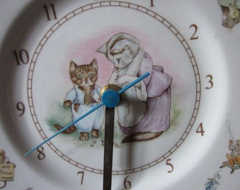 Royal Albert Nursery Clock Beatrix Potter Tom Kitten  Plate Wall  Clock . 1980's  Nursery China Wall Decor.