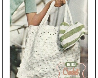 Crochet Tote bag 1970s Pattern - PDF Crochet Pattern - Instant Download