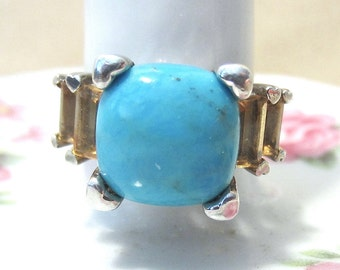 Vintage 80's Square Turquoise & Topaz Baguette Ladies Chunky Sterling Silver Ring w/Heart Accents, High Fashion, Glamour, Unique Style