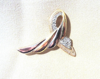 Vintage 80's Gold/Silver & Rhinestone Twisted Wing Lapel Pin, Abstract Gold and Silver Brooch,  Unique Rhinestone Scarf Pin Coat Pin