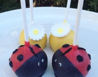 Lady Bug & Flower Cake Pops (1 dozen)