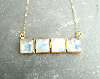 Rainbow Moonstone Tile Gold Necklace