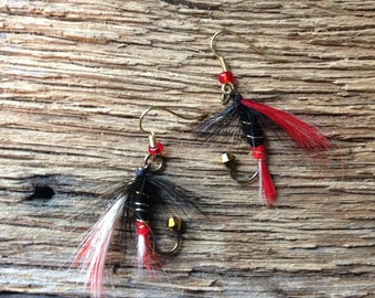 Texas Tech fly fishing fly earrings: ted and black fly earrings
