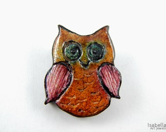 Owl brooch, christmas gift, rustic brooch, polymer clay, faux ceramic jewelry, artsy brooch,  fun and cute jewelry, owl pin, clay owl