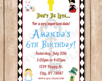 Alice Birthday Party Invitation | In Wonderland, Mad Hatter - 1.00 each printed or 10.00 DIY file