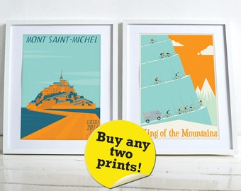 Mix and match, buy any two of our bike bicycle poster wall art prints Home Décor