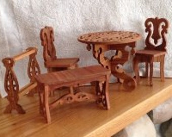 5 Piece Oak and Cherry Wood Doll Furniture
