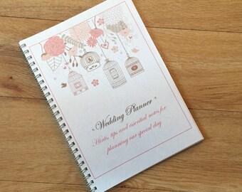 A5 Wedding Planner, Bride to be Wedding Journal Notebook  - Floral Vintage Birdcage Design