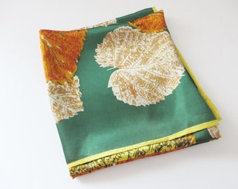 Vintage emerald green and Autumn leaves scarf