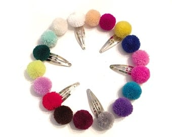 CHOOSE YOUR COLOR(s) Baby/Child/Girls Yarn Pom Pom Snap Hair Clips