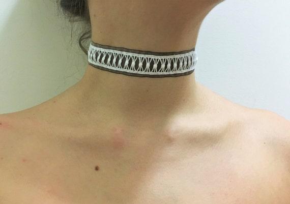 White geometric lace and grey chiffon choker classy punk minimalist handmade in USA