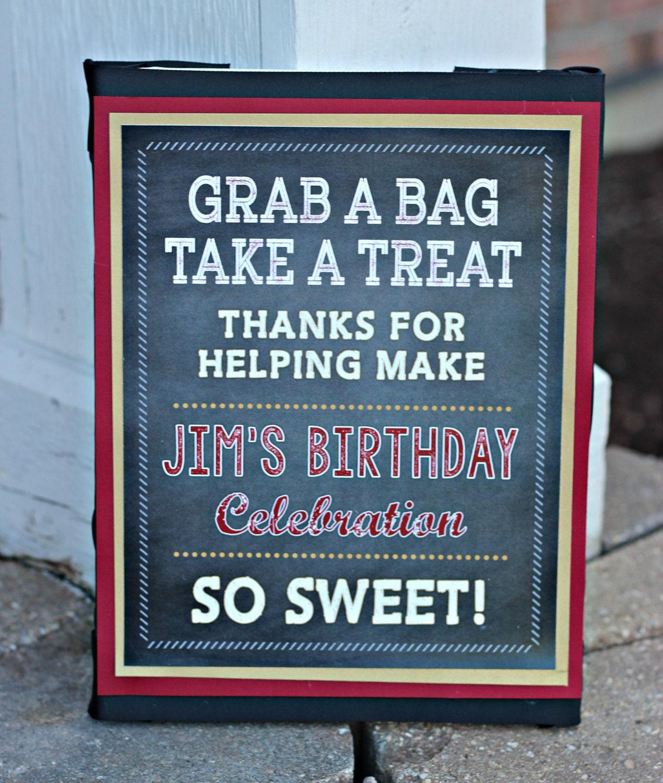 Adult Birthday Favor Treat Candy Bar Sign 8x10