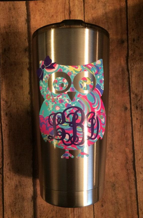 Custom Lilly Inspired Owl Monogram Car Window Yeti Ozark - Owl custom vinyl decals for car