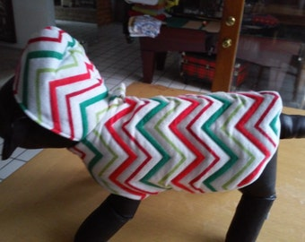 Small Flannel Dog Coat / Small Dog Jacket /Small Christmas Dog Apparel/ Small Dog Clothing /Dog Attire / Quilted Waves of Red, Green & White