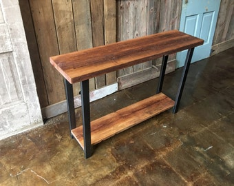 industrial console table made with reclaimed wood entryway hall table wlower shelf