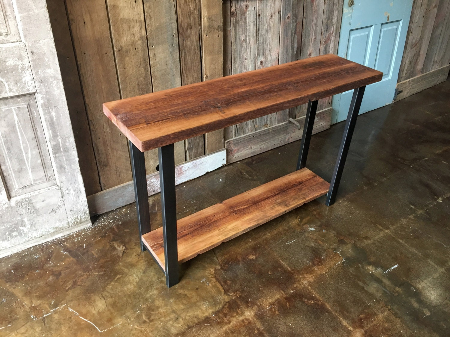 Industrial Console Table Made With Reclaimed Wood Entryway