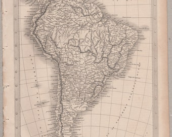 1843 Vintage Map of South America #00161
